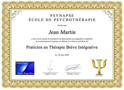 Praticien thérapie brève integrative Diplome